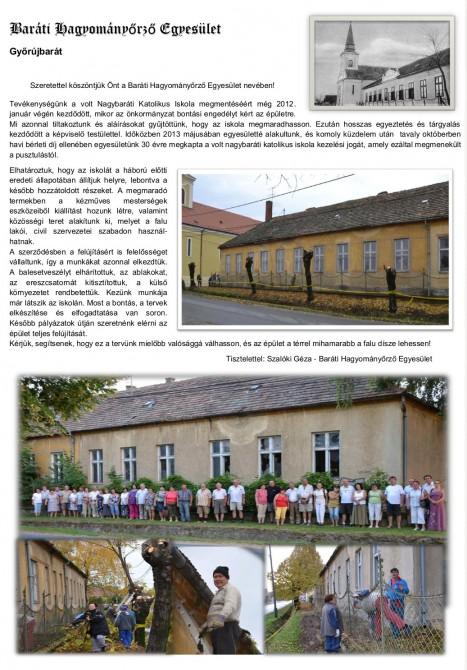 Győrújbarát, Baráti Hagyományőrző Egyesület bemutatkozó szórólap